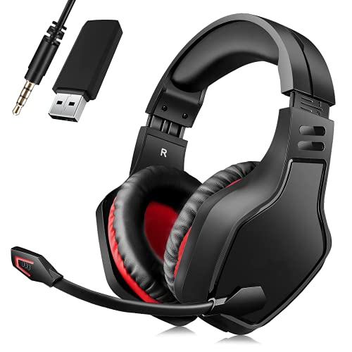 Wireless Headset with Microphone, BEAVIIOO 2.4G Gaming Headset for PC PS4 PS5 -50 Hours, Headphones Gamer with USB Port, Wired Mode for Xbox Switch, Bluetooth Mode for Phone TV