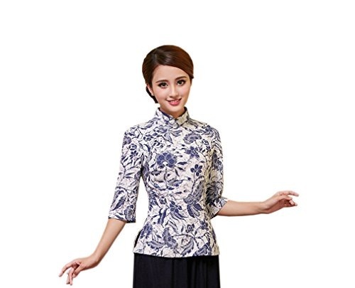 Yue Lian Damen Frauen Sommer Stehkragen Halfärmlig Qipao Stil Bluse mit druckte Muster (EU:34-China:M, Farbe 10)