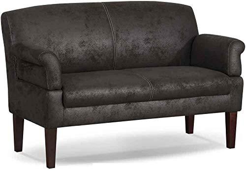 CAVADORE 3-Sitzer Küchensofa Malm, Sitzbank für Küche oder Esszimmer in Lederoptik, Inkl. Armteilverstellung, Federkern und moderner Kontrastnaht, 182 x 97 x 78, Mikrofaser: dunkelgrau
