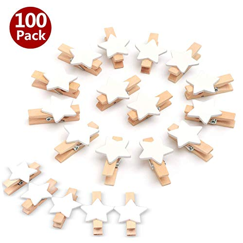 LIZHIGE Pinzas madera 50 pcs Pinzas de Madera Decorativas,Pinzas la Ropa Naturales para Colgar Fotos Regalos decoración Mini Pinzas (Blanco)