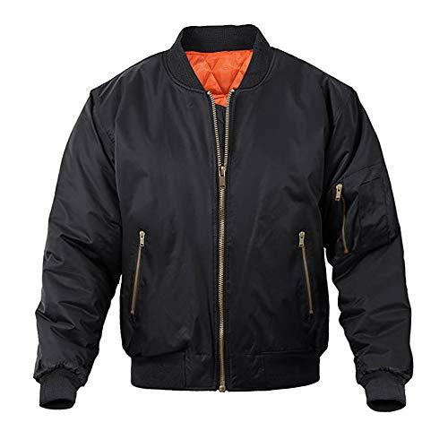 MAGNIVIT Men's Bomber Jacket Station Jacket Active Lightweight Military Outwear Black