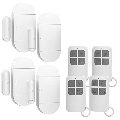 Shackcom 4pcs Fensteralarm Türalarm Selbstklebend Alarm Fenster 130dB mit Wireless Magnetsensor Sirene 3 Alarmtöne mit 4 Fernbedienungen für Home Security Einbruchschutz Türalarmsensor mit Batterien