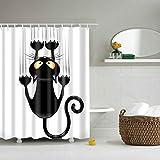 Duschvorhänge,Duschvorhang aus Polyester, Textil Bad Vorhang, Schwarz Katze bedruckt,Anti-Schimmel, Wasserdichter,Badezimmer Vorhang mit 12 Duschvorhängeringen & Haken, 120x180 cm