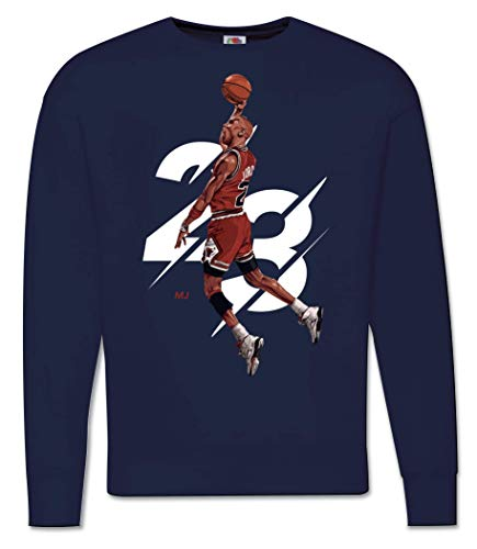 Generico Felpa Uomo Michael Jordan 23 - Girocollo Campioni Basket NBA Pallacanestro Tunes Squad (Blu, XL)