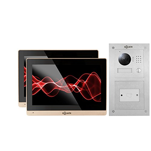 GOLIATH IP Video Klingel, Unterputz RFID Türstation, Edelstahl, HD Kamera, App, Türöffner-Funktion, Schlüsselloser Zugang, Video-Speicher, 1 Familienhaus Set, AV-VTC144