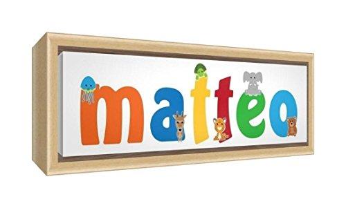 Little Helper LHV-MATTEO-3084-FCNAT-15IT Stampa su Tela Incorniciata Legno Naturale, Disegno Personalizzabile con Nome da Ragazzi Matteo, Multicolore, 34 x 88 x 3 cm