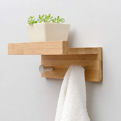 Massief houten wandkapstok bamboe plank kledinghangers metalen haken naar boven 22 7 35 5 48 5 61 1 & tijden; 8 & tijden; 12 cm (maat: 4 haken) Twee haken.