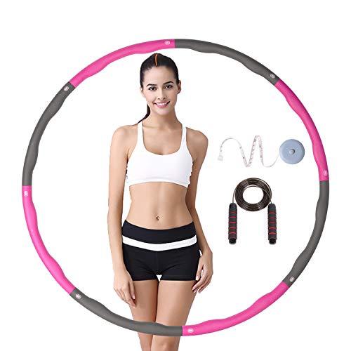 LEBEMPEL Hula Hoop Reifen Fitness,Gewichtsreduktion Abnehmbarer Teile zum Breite Einstellen Schaumstoff Gepolster Fitness/BüRo/Bauchformung,mit Springseil und Maßband (Rosa+Grau)