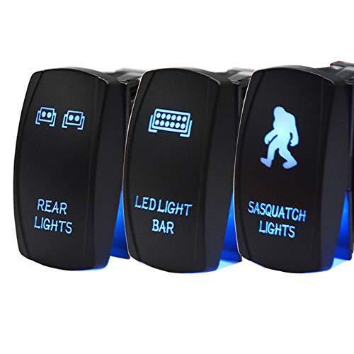 Dasen Rocker Switch 3PCS Laser Sasquatch & Rear & LED Lights Toggle Switch Blue Compatible with ATV UTV Polaris RZR Can-am Honda Yamaha Can-AM Maverick Jeep SUV