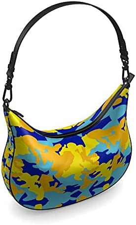 The Fashion Access Yellow Blue Neon Camouflage Curve Hobo Bag