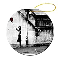 Banksy Girl With Heart Balloonクリスマス オーナメント 飾りース 小さい 装飾品 記念品 丸型 陶磁器 両面印刷 縄をかける 7.2cm クリスマスツリーオーナメント