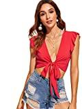 Floerns Women's Summer Deep V Neck Knot Front Crop Top A red S