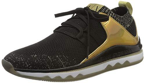 Armani Exchange Damen Sneaker, Schwarz (Black+LT Gold R488), 38 EU