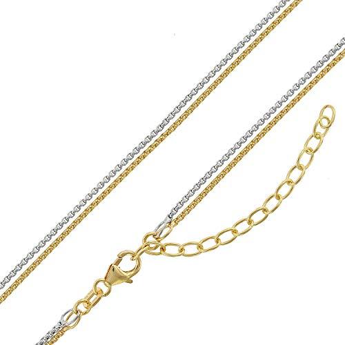 trendor Damen-Halskette Silber 925 Bicolor Venezia 2-Reihig zauberhafter Silberschmuck für Damen, Halsschmuck aus Sterlingsilber, modische Geschenkidee 75150
