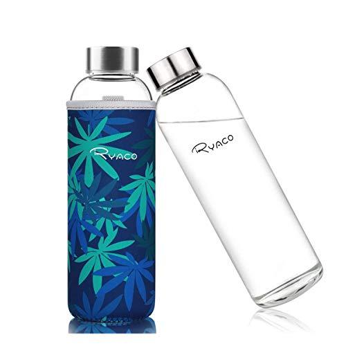 Ryaco Glasflasche Trinkflasche Classic Tragbare 550ml BPA-frei für unterwegs Sportflasche Glas Wasserflasche zum Mitnehmen von kalten Heiß Getränken mit Neopren Tasche und Schwammbürste