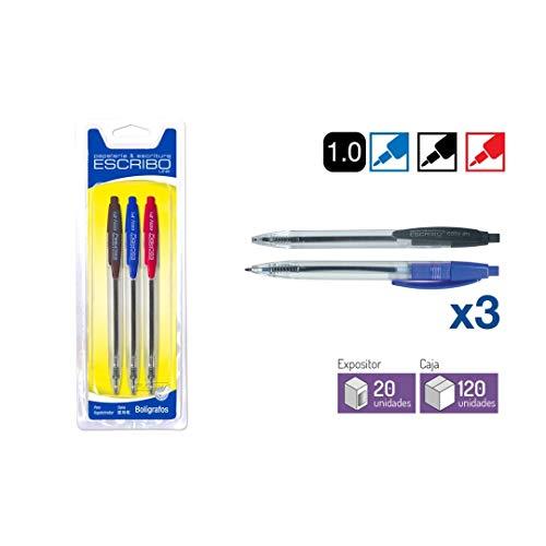 Boligrafos Punta de Bola 1 mm - Colores Negro, Azul y Rojo - Con Pinza para Colgar - Modelo Easy - 6 unidades