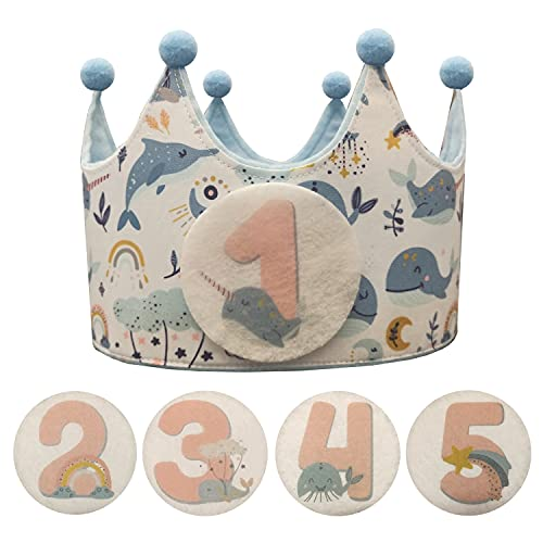 Kembilove Corona Cumpleaños – Corona Primer Cumpleaños niño – Fiesta de cumpleaños Smash Cake de 1-5 Años Intercambiables Ballenas – Regalos Personalizados