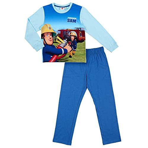 Feuerwehrmann-Sam Pijama para niño, diseño de coche de bomberos, azul claro, Tamaño de la cintura:100-105 cm