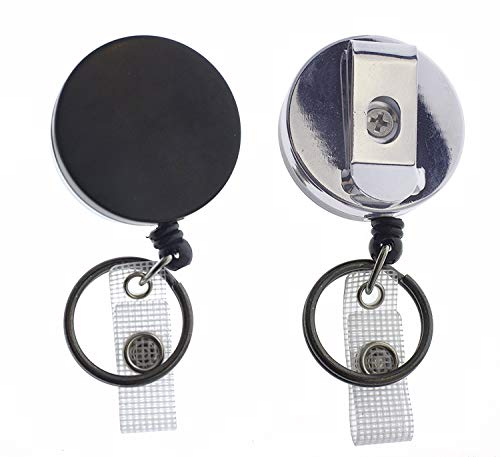 2 Pack - Heavy Duty Retractable Badge Reel with Key Ring - All Metal Construction Card & Key Holders with Thick Nylon Cord, Belt Clip, Reinforced ID Strap & Keychain by Specialist ID (Black/Silver)