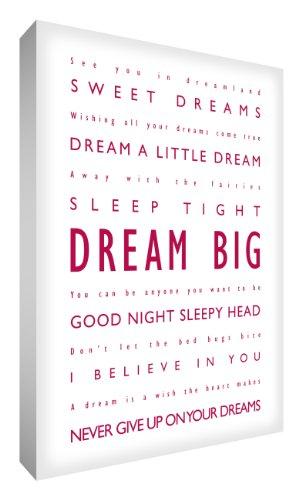 Feel Good Art Dream Big - Cuadro Decorativo (40,6 x 30,4 cm), diseño con Texto en inglés, Color Magenta y Rojo
