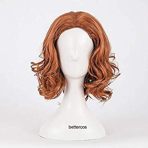Infinity War Black Widow Natasha Romanoff pelucas de Cosplay peluca de pelo sinttico resistente al calor rizado corto + gorro de peluca
