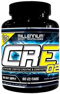 Millennium Sport Technologies, CRE-O2, Enteric Coated Creatine and Cordyceps, BSCG Certified Drug Free, 90 Tablets