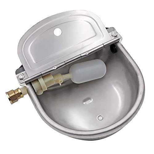 Canal de agua de acero inoxidable para animales con tapón de drenaje y conector, cuenco de agua flotante automático para perros y ganado