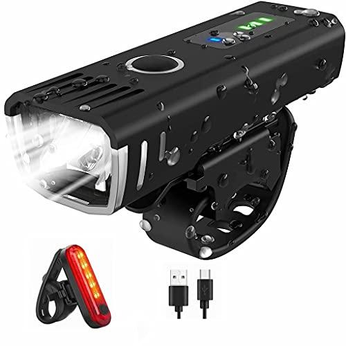 FSJD Luces Delanteras Delanteras y traseras traseras para Bicicletas con LED superbrillantes Recargables por USB, Luces de Ciclo de 4 Modos de luz, luz Delantera + luz Trasera, 10 m × 3,3 cm × 3 cm