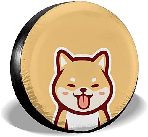 Baodan Lindo Kawaii Shiba Inu Dog Cubierta de rueda de repuesto universal impermeable a prueba de polvo UV ajuste para Jeep, remolque, Rv, SUV y muchos vehículos (14' 15' 16' 17')