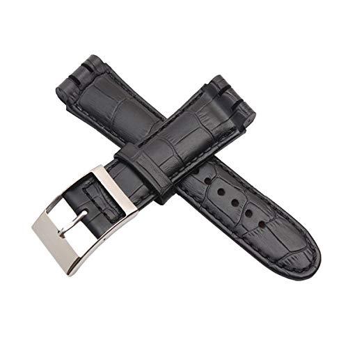 Handgemachte 23MM Schwarz Imported Top Layer Kalbslederband Männer Knopf Lederband + Werkzeug, Schwarz, 23mm