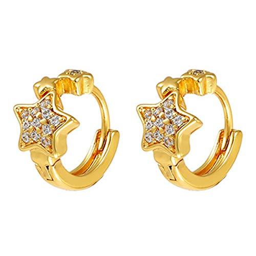 BNMY Pentagram Earrings 24K Gold Plated,Mini Hoop Earrings,Gold Earrings,Gold Jewelry,Gold