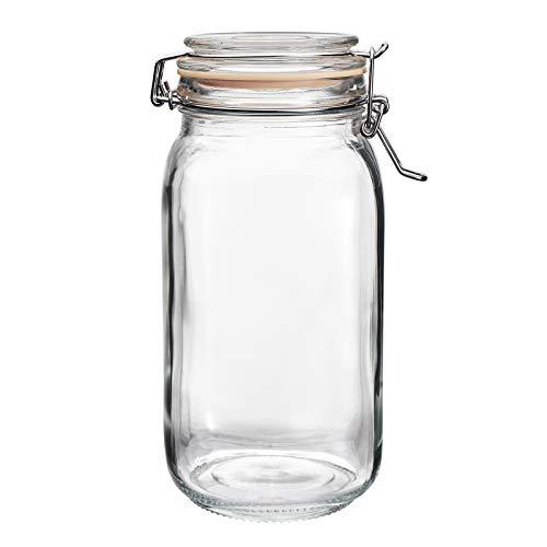 Tarro de cristal con tapa de 1,5L, tarro de masón, hermética tarro para mermelada conservas de salucrut decapado masa madre iniciador...