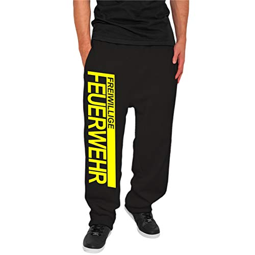 Spaß kostet Männer und Herren Jogginghose Trainingshose FFW Freiwillige Feuerwehr NEONGELBER Druck Größe XS - 5XL