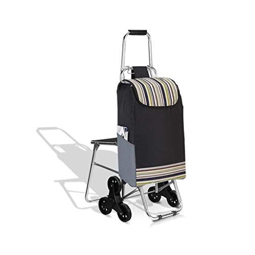 LQBDJPYS - Carrito de compras plegable, 3 ruedas, escalera, asiento de bicicleta de montaña, diseño plegable, capacidad máxima de 30 l bolsas de equipaje (color: D)