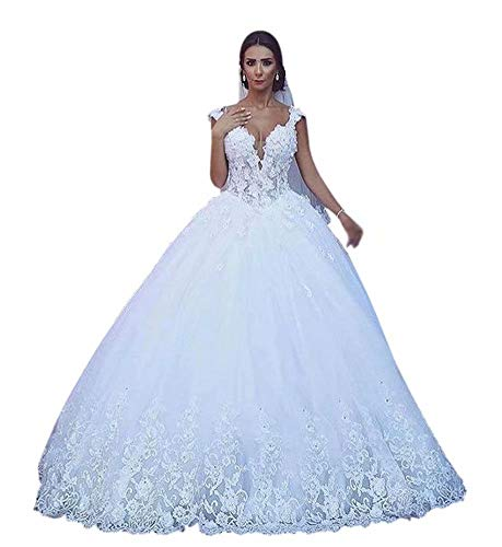 QueenBridal Women's Fantastic Tulle V-Neck Wedding Dresses Ball Gown Beaded for Bride with Lace Appliques QU168 Ivory