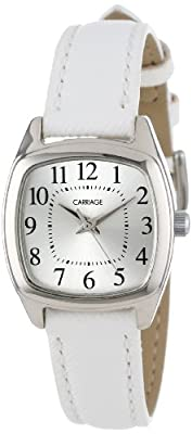Carriage Women's C3C670 Silver-Tone Cushion-Shaped Case White Strap Watch from Timberland
