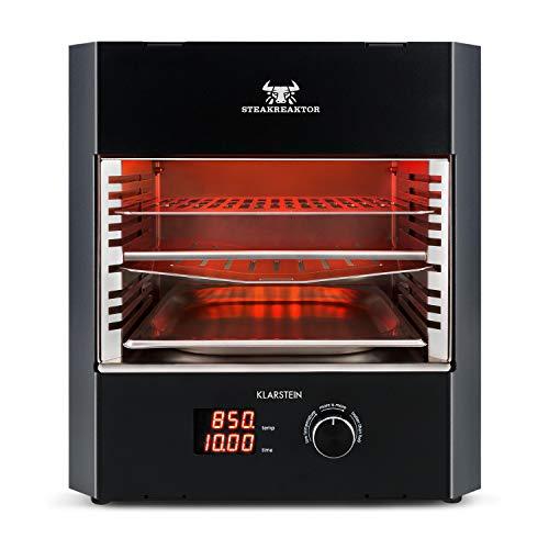 Klarstein Steakreaktor Pro - Das Original, Made in Germany, 3200 W Hochtemperaturgrill: 200-850 °C, Indoor Grill, Infrarot-Heizelement, Große Grillfläche: 27 x 23 cm, Timer, Edelstahl, schwarz