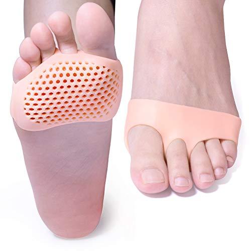Sumifun - 5 pares Cojín de bola de pie transpirable, almohadillas de metatarsia, antepiés, transpirable y gel suave, mejor para pies diabéticos, callos y ampollas, fascitis plantar, antepié