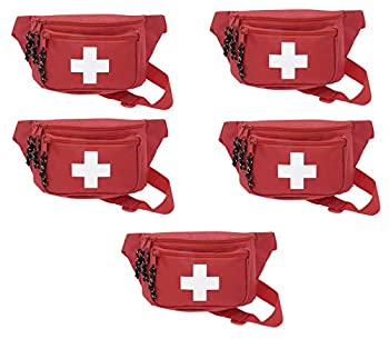5pk ASA Techmed First Aid Waist Pack - Baywatch Lifeguard Fanny Pack - Compact for Emergency at Home Car Outdoors Hiking Playground Pool Camping Workplace