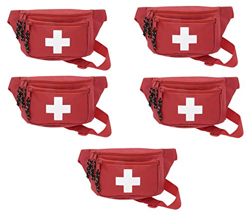5pk ASA Techmed First Aid Waist Pack - Baywatch Lifeguard Fanny Pack - Compact for Emergency at Home, Car, Outdoors, Hiking, Playground, Pool, Camping, Workplace
