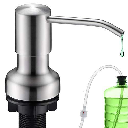 "Dish Soap Dispenser for Kitchen Sink,SonTiy Commercial Kitchen Hand Soap Dispenser Brushed Nickel, Stainless Steel Liquid Soap Dispenser Pump with 47"" No-Spill Extension Tube+17 OZ Bottle"