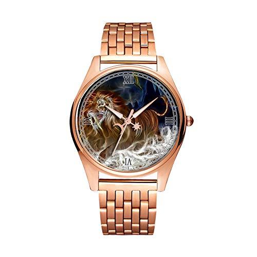 Minimalistische Goldene Fashion Quarz-Armbanduhr Elite Ultra Dünn wasserdichte Sportuhr Artistic Pattern - 216.Lion, Tiger, Katze, Himmel, Fluss, Rocks