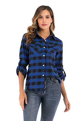 Enjoyoself Damen Karrierte Bluse Langarm Karo Flanell Hemden Baumwolle Button-down Hemdbluse für Alltag und Oktoberfest,Blau-Schwarz,XXL