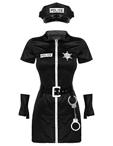 CHICTRY Sexy Polizei Kostüm Kleid Damen Polizistin Cop Uniform Minikleid mit Mütze Handschnelle Komplettes Outfit Halloween Karneval Cosplay S-3XL Schwarz M