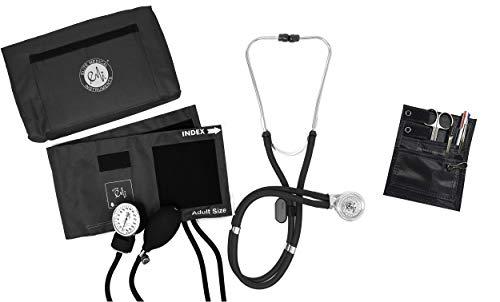 EMI NK-330 - Black Sprague Rappaport Stethoscope and Aneroid Sphygmomanometer Manual Blood Pressure Set and Pocket Organizer Nurse Kit