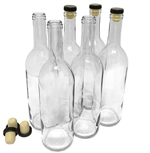 nicebottles Wine Bottles with Corks, Clear, 750ml - Pack of 6