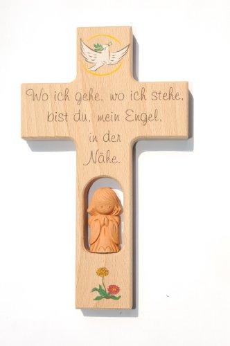 Kinderkreuz Buchenholz Taube mit handgearbeitetem Tonengel