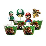 12 unidades por lote, con texto en inglés 'Happy Baby Shower Boys Kids Favors Mario Theme Cupcake Wrappers Decorations Birthday Events Party Cake Toppers