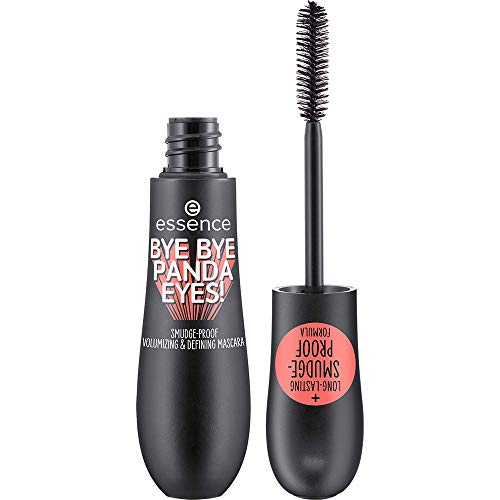 essence BYE BYE PANDA EYES! SMUDGE-PROOF VOLUMIZING AND DEFINING MASCARA, Wimperntusche, Nr. 01 Black, schwarz, volumengebend, definierend, langanhaltend, natürlich, vegan, ohne Parfüm, ölfrei (16ml)
