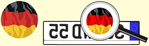 norrun Autokennzeichen Aufkleber Kfz Deutschland schwarz rot Gold Fahne Durchmesser ungefähr 40mm aus weißer Folie farbig Bedruckt AU Ersatz